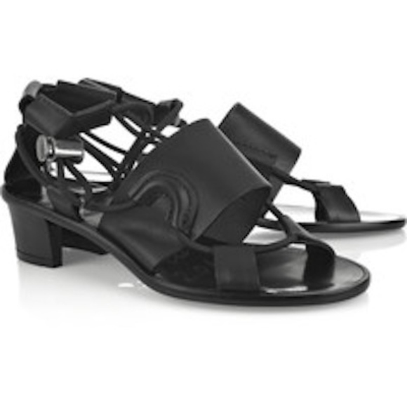 6da990c69dc8 Lanvin Black Leather Hollow Heel Sandals